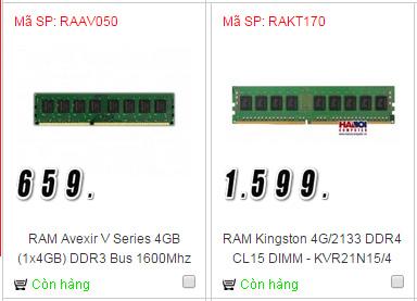 Giá RAM DDR3 (trái) và DDR4 (phải)