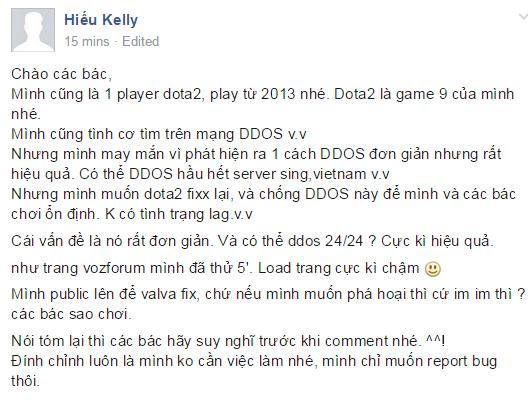 Hiếu Kelly tự tin có thể DDOS DOTA 2.
