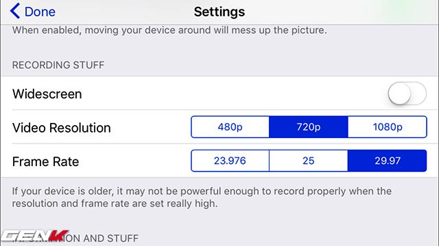 Có thể chỉnh chất lượng video, tỷ lệ khung hình