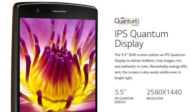 Màn hình chấm lượng tử trên LG G4.