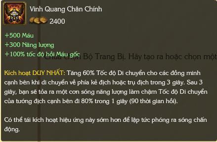 Trang bị Vinh Quang Chân Chính có chỉ số khá tệ.