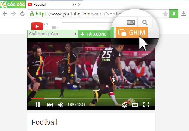 Nút Ghim nằm ngay trên đầu mỗi video.