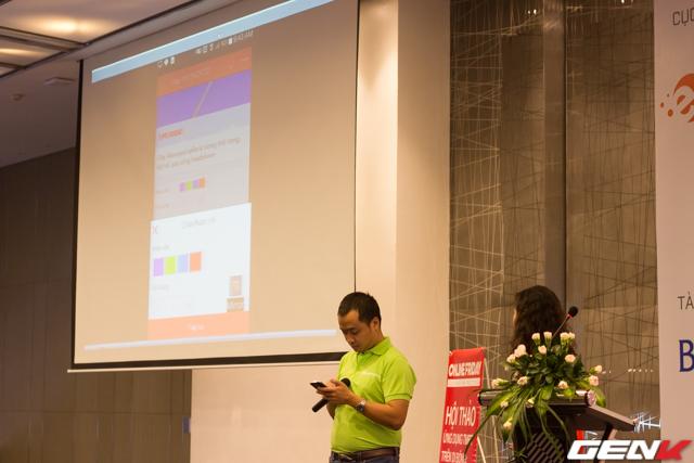 Ông Trần Hải Linh, Tổng Giám đốc sàn TMĐT Sendo.vn đang giới thiệu ứng dụng bán hàng trực tuyến Sendo.