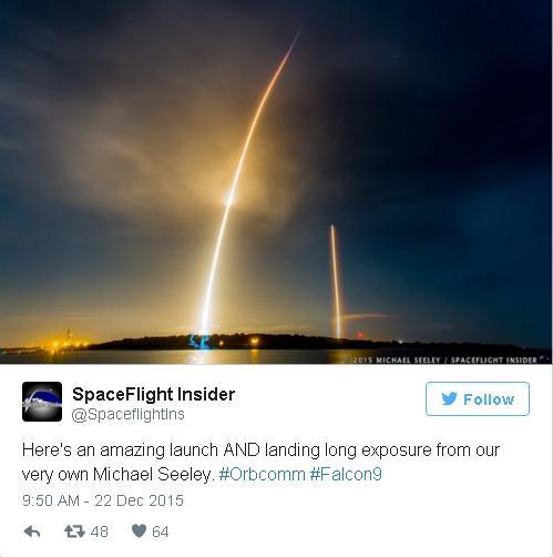 Bức ảnh của SpaceFlight Insider, được chụp bởi Michael Seeley. Cột sáng thẳng đứng chính là quá trình hạ cánh của tên lửa, cột sáng lớn hơn chính là quá trình phóng lên vũ trụ.