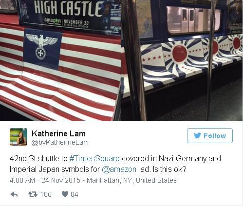 Tàu điện ngầm số 42 tới Quảng trường Thời Đại được phủ kín hình Đức Quốc Xã và cờ đế quốc Nhật để phục vụ chiến dịch quảng cáo của Amazon. Liệu nó có ổn không?
