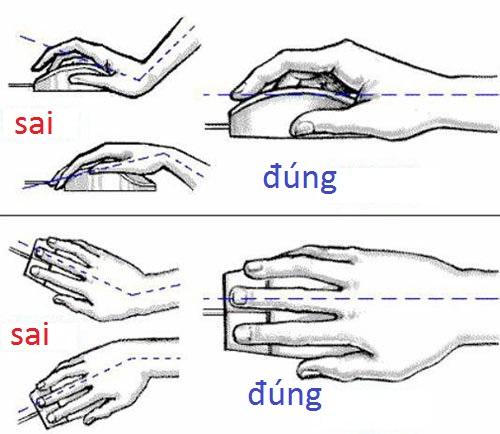 Mặt bàn quá cao hoặc quá thấp cũng khiến tay đặt sai tư thế (chếch lên choặc chếch xuống) gây mỏi tay.