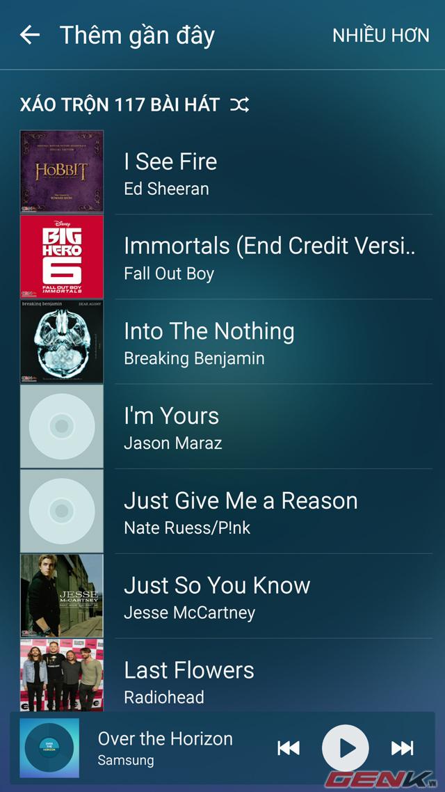 Galaxy S6 đã nhận được trọn các bài hát sau khi chuyển dữ liệu xong.