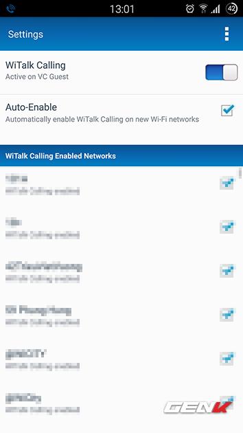 Ứng dụng WiTalk Calling với chỉ 2 tùy chọn về việc kích hoạt tính năng này.