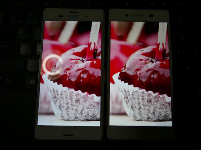 Khả năng hiển thị màu sắc trên Xperia Z3 (bên trái) có phần tươi sáng hơn Xperia Z4 (bên phải).