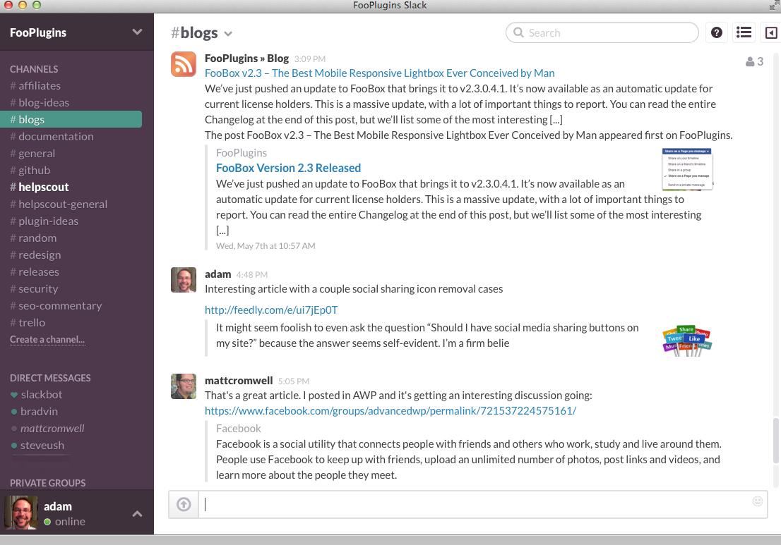 Giao diện Slack với các channel cho phép người dùng làm việc với các nhóm riêng trong cả công ty