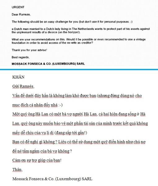 Email giữa hai nhân viên của trao đổi về việc hỗ trợ một vị khách sắp li hôn.