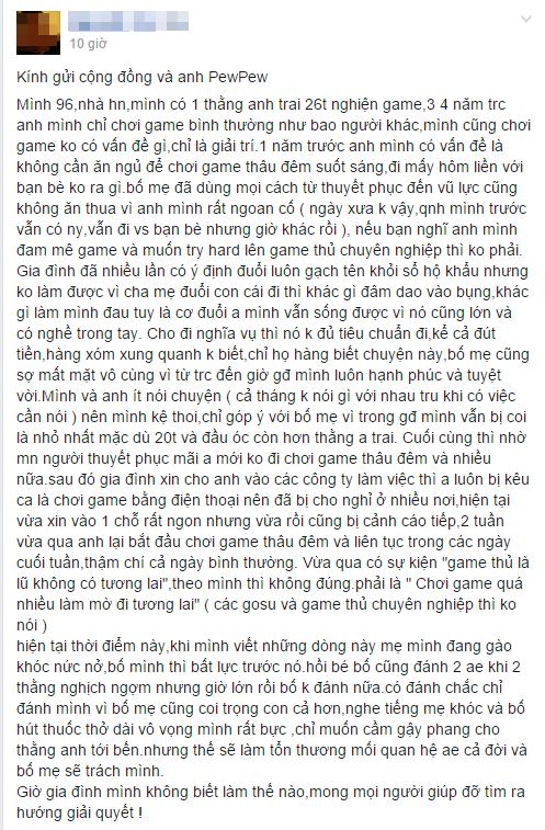 Tâm sự của một game thủ về người anh trai nghiện game khiến gia đình lo lắng