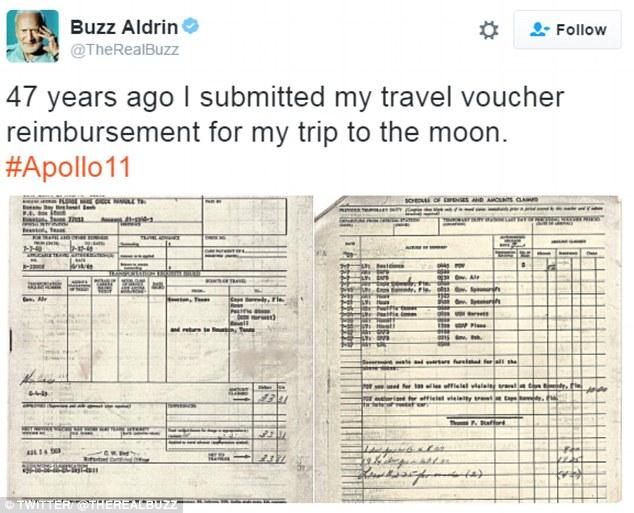 Hóa đơn công tác phí của Buzz Aldrin.