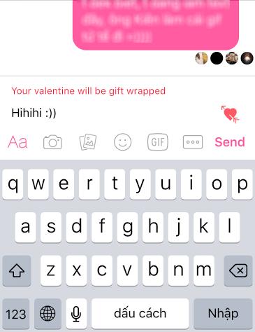 Thông báo tin nhắn của bạn sẽ được gói lại trước khi gửi đi khi nhấn vào biểu tượng trái tim.