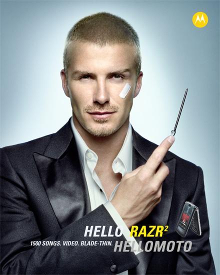 Vài năm trước David Beckham cũng từng tham gia quảng cáo điện thoại siêu mỏng Motorola RAZR2