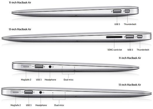 Các cổng trên Macbook Air
