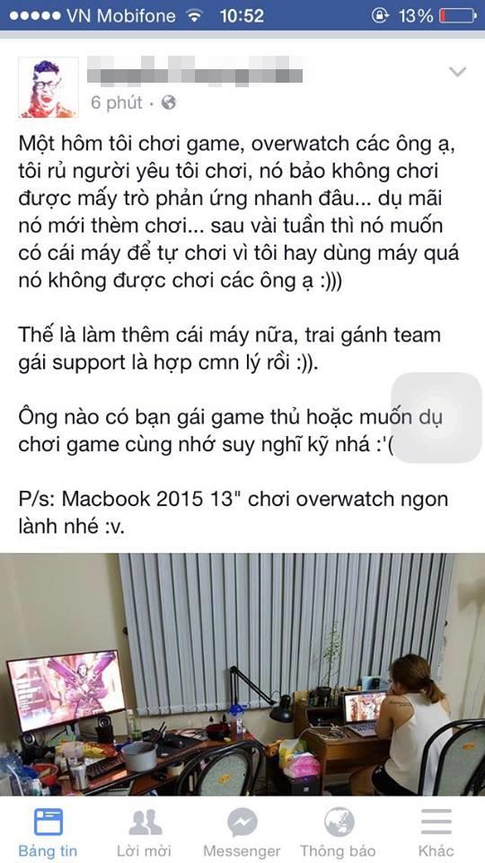 N.T.H giải thích lý do mình phải mua máy tính mới - để phục vụ người yêu chơi Overwatch.