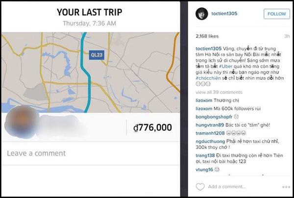 Tóc Tiên thể hiện bức xúc trên instagram về cước phí cao gấp 3 bình thường.