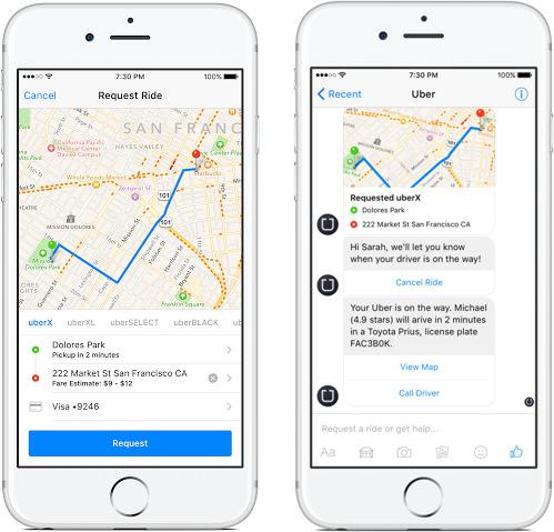 Cách hoạt động của bot tương tự như khi sử dụng tính năng Uber tích hợp trên Messenger.