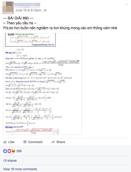 Facebook của thầy V. luôn đăng tải cách giải đề Toán.