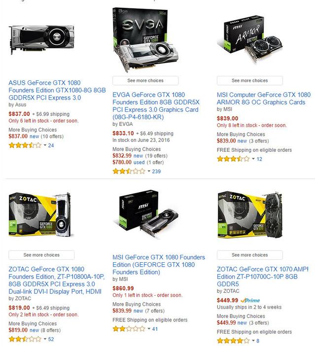 Hai tình trạng phổ biến của GTX 1080 ở các nhà bán lẻ, hoặc hết hàng hoặc số lượng còn lại hạn chế.
