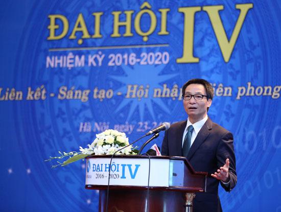 Ông Vũ Đức Đam, Ủy viên Trung ương Đảng, Phó Thủ tướng Chính phủ, Phó Chủ tịch Ủy ban quốc gia về ứng dụng CNTT phát biểu tại phiên chính thức Đại hội IV của Hiệp hội Phần mềm và Dịch vụ CNTT Việt Nam. (Ảnh VINASA cung cấp)