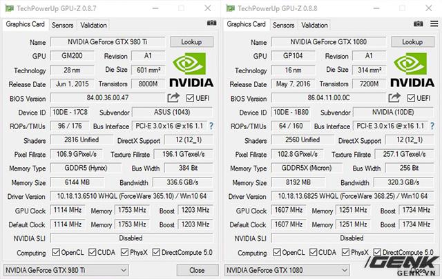 Asus GTX 980 Ti Poseidon (trái) và Nvidia GTX 1080 (phải)