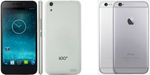 Mẫu điện thoại Baili 100C của Trung Quốc (Trái) và iPhone 6 của Apple (Phải)