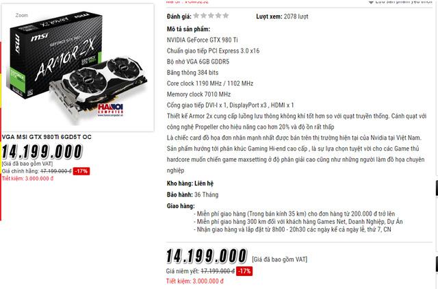 Giá 1 số sản phẩm GTX 980Ti cũng xuống rất thấp.