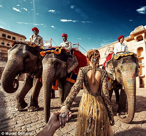 Ảnh chụp với voi tại Jaipur