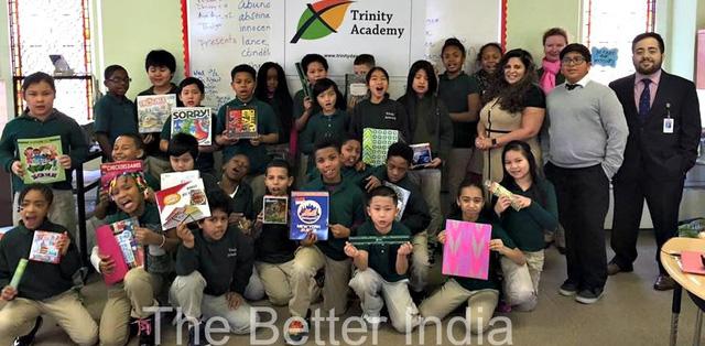Ishaan cùng các học sinh và giáo viên trường Trinity, Mỹ