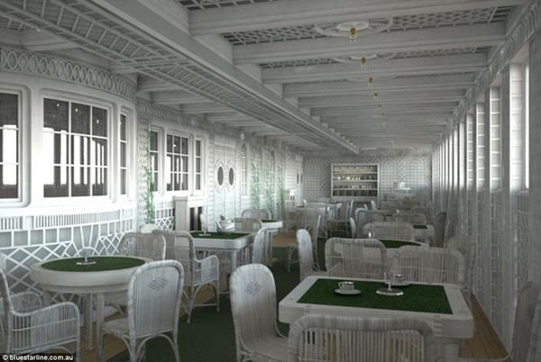 Cafe Parisien, một trong những lựa chọn ăn tối sang trọng trên Titanic cũng sẽ có mặt trên bản Titanic II.