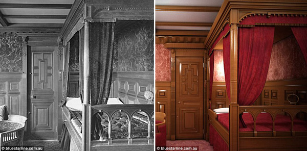 Buồng ngủ cao cấp dành cho vé hạng nhất, với giường làm bằng gỗ sồi và thảm loại đẹp.