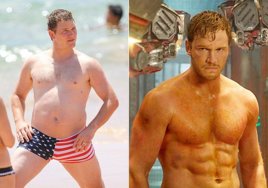 Chris Pratt trước và sau khi tham gia Guardians of the Galaxy.