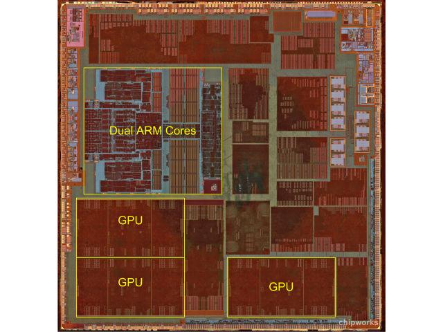3 lõi GPU PowerVR được thiết kế bởi Imagination trên chip xử lí Apple A6.