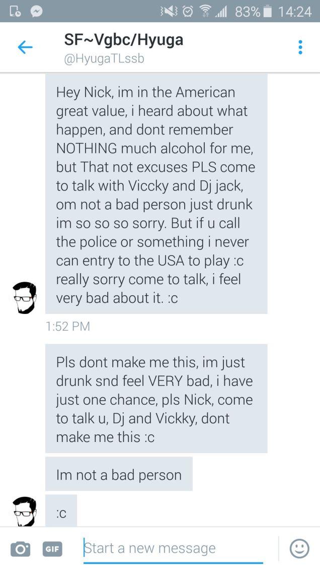Tin nhắn giải thích của Cristian sau đó với nạn nhân.