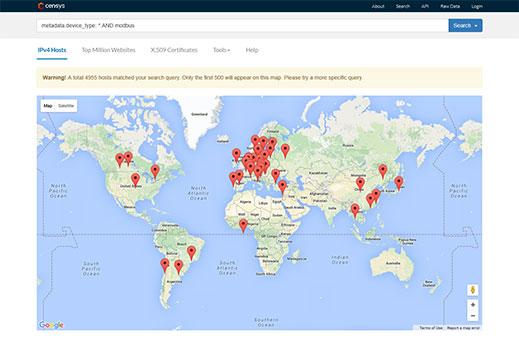 Bản đồ cho thấy vị trí gần đúng của các cơ sở có lỗ hổng an ninh trên thiết bị của mình.