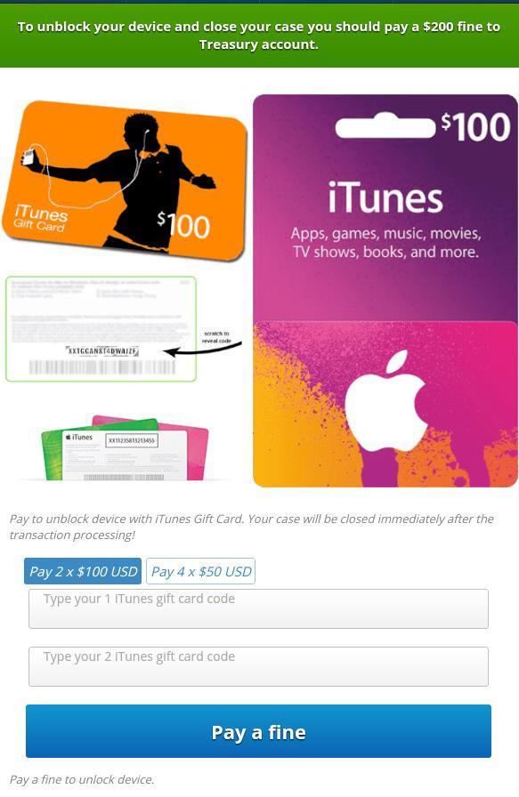 Thông báo bắt mua thẻ iTunes để được mở khóa thiết bị