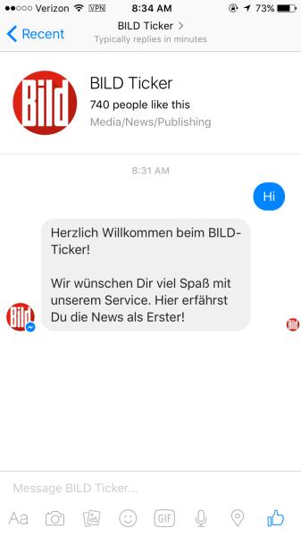 Con chat bot của Bild - BILD Ticker