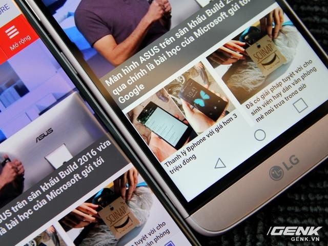 Nhưng viền màn hình của LG G5 lại dày hơn hẳn Galaxy S7. Các phím điều hướng được đặt ngay trong màn hình, tất nhiên, chúng được tự động ẩn đi.