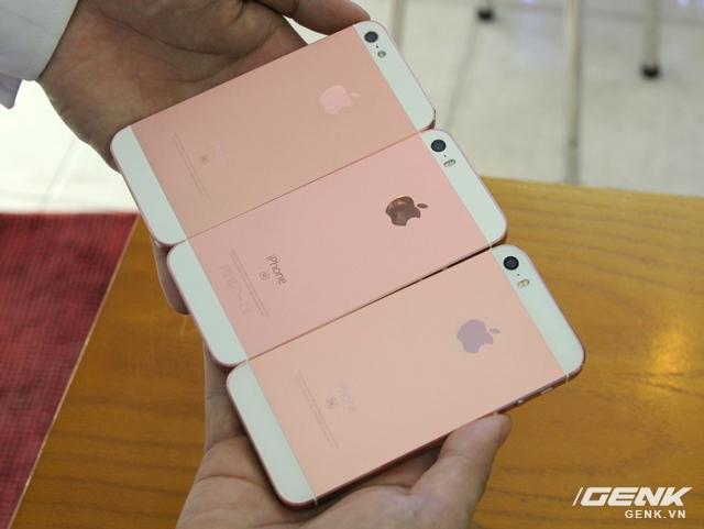 Lần lượt từ trái sang là iPhone 5 và iPhone 5s độ vỏ, còn ngoài cùng bên phải là iPhone SE chuẩn.