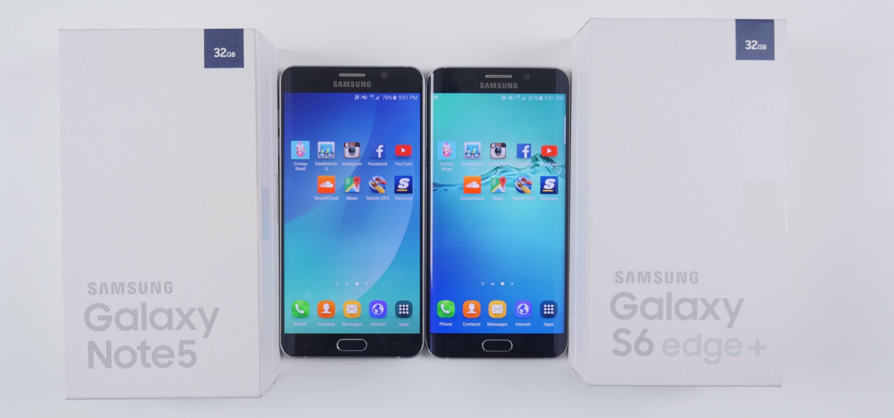 Ngoại hình tổng thể khó phân biệt giữa Note 5 và Galaxy S6 Edge Plus.