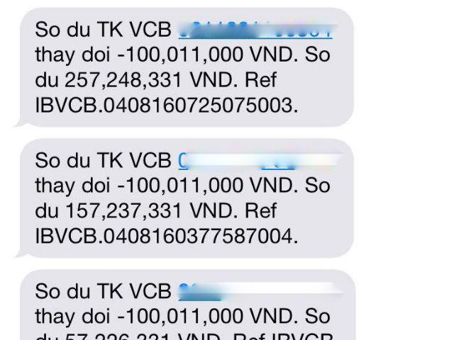Vietcombank gửi tin nhắn về thay đổi số dư tài khoản của chị Hương với 4 lần giao dịch qua thẻ, 3 lần giao dịch qua InternetBanking mà không có mã OTP