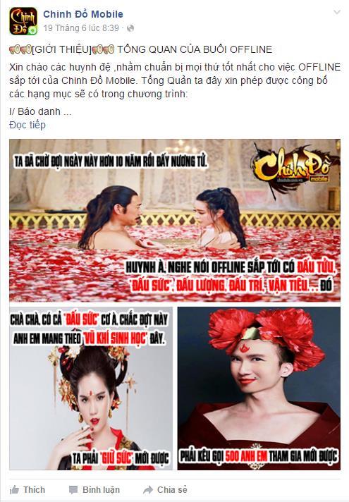 Thông tin buổi Offline đầu tiên của Chinh Đồ Mobile được đăng tải trên trang Fanpage
