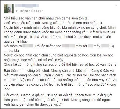 Một đoạn chia sẻ bức xúc về vấn nạn chửi của game thủ Cửu Dương Thần Công