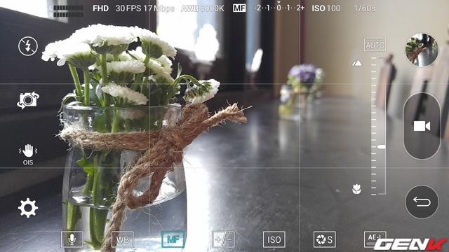 Giao diện quay video Manual Mode trên LG V10.