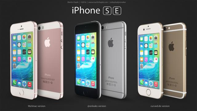 Một số mẫu ảnh dựng dựa trên các tin rò rỉ về iPhone SE.