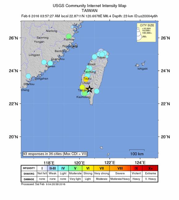 Bản đồ những vùng bị ảnh hưởng bởi động đất.