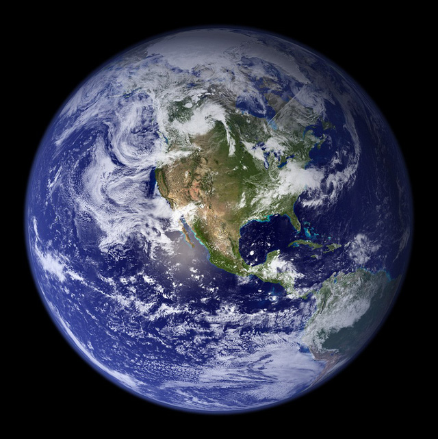 Other images of Earth, such as Nasas famous Blue Marble images (Western Hemisphere shown), use image enhancement and colour correction to show what the planet would look like to the human eye from space