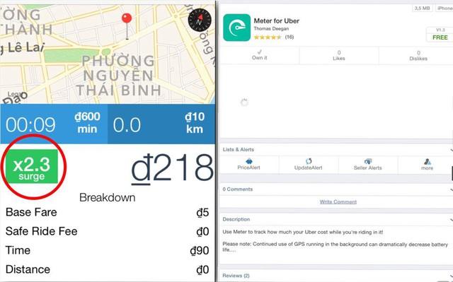 """Hệ số được tính bằng phần mềm """"Meter for Uber"""" khi đi trời mưa. (Ảnh: Biasg)"""